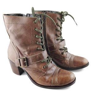 STEVE MADDEN DEVLIN  Leather Combat Boot